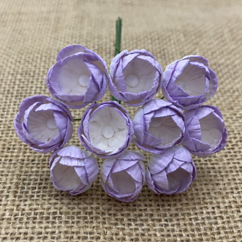 50 2-TONE LILAC MULBERRY PAPER BUTTERCUPS