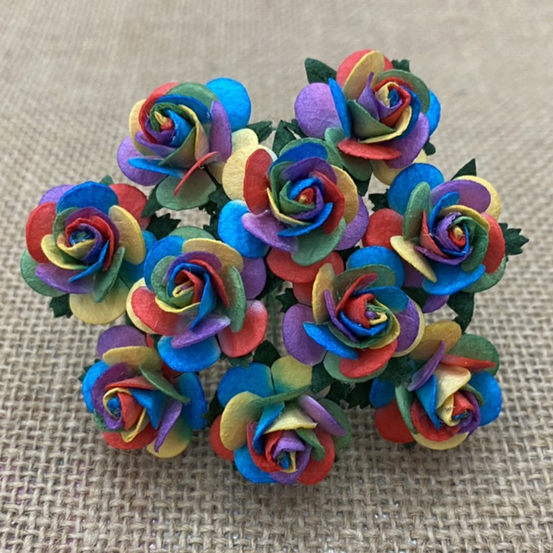 100 RAINBOW COLOUR OPEN ROSES