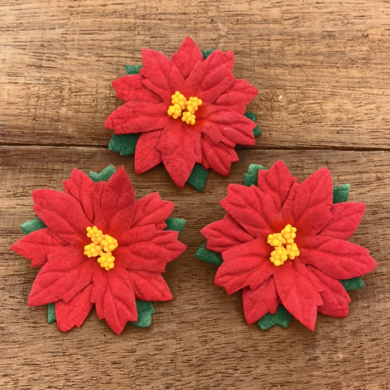 25 LARGE RED MULBERRY PAPER FLOWER POINSETTIAS - 50mm