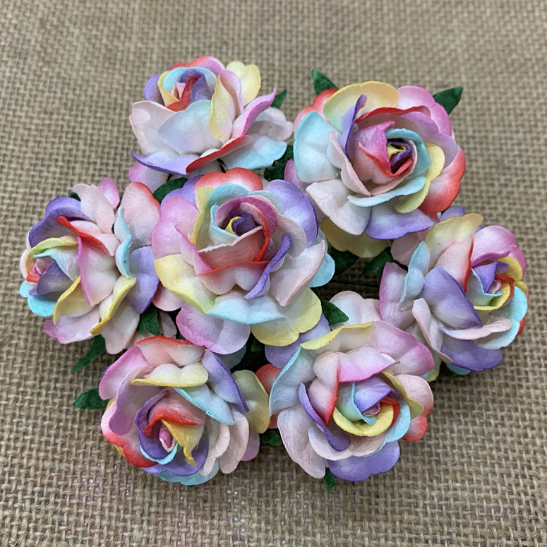 50 RAINBOW COLORED MULBERRY PAPER TEA ROSES 40mm