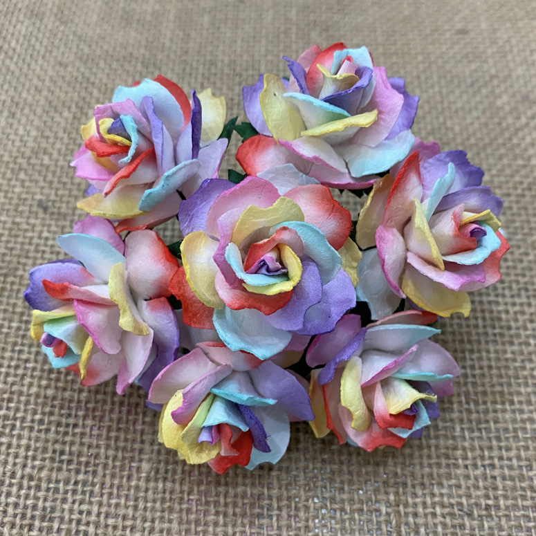 50 RAINBOW COLORED MULBERRY PAPER WILD ROSES 30mm